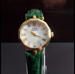 Anne Klein Green and Diamond Cut Watch